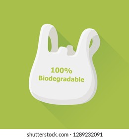vector environmentally friendly concept / biodegradable plastic bag / recycling sign / environmental icon template / isolated