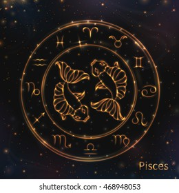 4d10048d1 VECTOR eps 10. 12 Glowing Astrology Zodiac Signs in bright circle ring  Golden shining Pisces