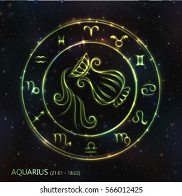 VECTOR eps 10. 12 Glowing GREEN Astrology Zodiac Sign Aquarius in bright circle or ring. GREEN shining Aquarius. Golden shining sparkling zodiacs, Zodiac set ready backgrounds