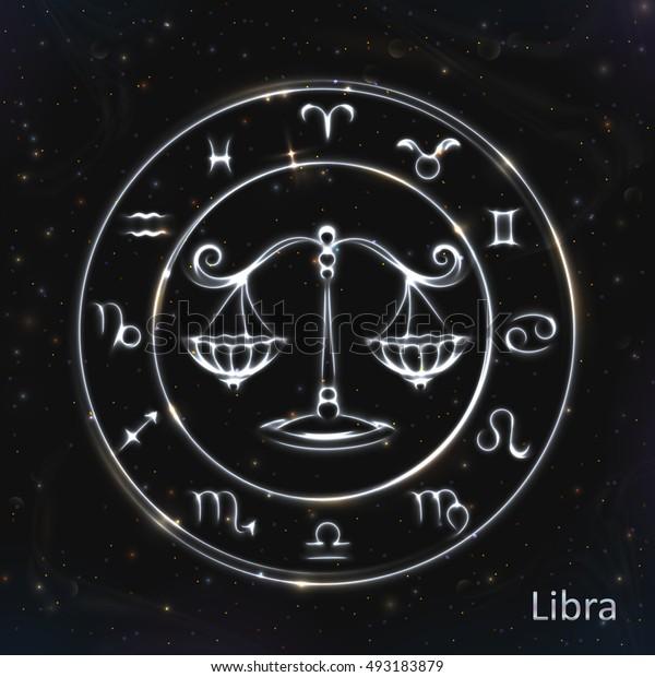 VECTOR eps 10. 12 Glowing Astrology Zodiac Signs in bright circle Golden shining Libra zodiac esoteric Zodiac set astrology space Zodiac signs Zodiac clock card Zodiac Libra illustration Zodiac sign