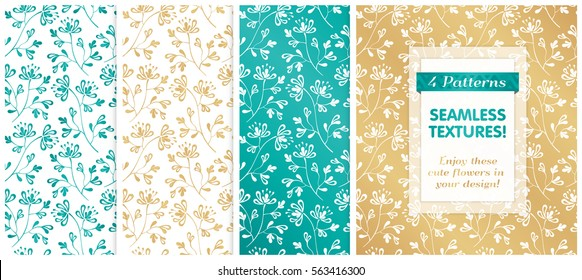 VECTOR eps 10. 4 SEAMLESS patterns in golden, white and turquoise colors. Endless textures with flowers