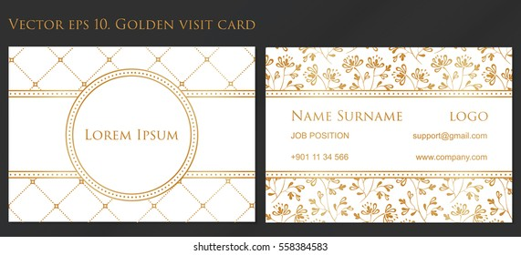 VECTOR eps 10. Design for Visiting card and business card with elegant flowers. In CMYK. Front page and back page. 90mm - 50mm. Golden textures for business cards. golden flower vintage ornament