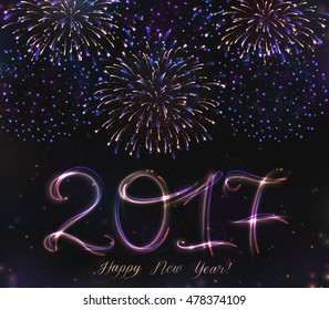 VECTOR eps 10. Glowing collection. 2017 New Year design! Shining Firework, light effects isolated and grouped. Gold violet white golden colors in fireworks. 2017 new year's design. Exploding firework