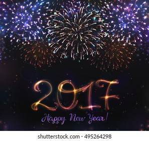 VECTOR eps 10. Glowing Collection. Happy New Year. Festive fireworks, exploding bursted firework, bursting sparkling, realistic, fireworks 2017, black background 2017. Firework Happy New Year 2017