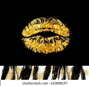 VECTOR eps 10. Gold glitter illustration of mouth isolated on black background. Glamour kiss print with gold shimmer for luxury design. Fashion lips, grunge dirty, brushes of mascara for eyes lipstick