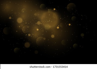 Vector eps 10 gold particles. Glowing yellow bokeh circles, sparkling golden dust abstract gold luxury background decoration