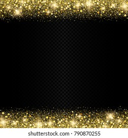 Vector eps 10 golden glitter confetti sparkling shiny border on dark transparent background