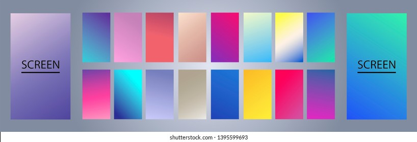 Vector EPS 10 Gradient Set. Different colors. Modern Smartphone screen, mobile app Template. Design for Wallpaper, background, banner, flyer, Social media post