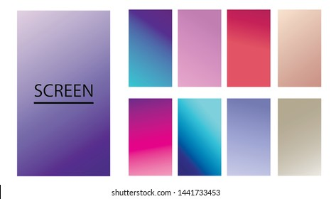 Vector EPS 10 Gradient Set. Different colors. Modern Smartphone screen, mobile app Template. Design for Wallpaper, background, banner, flyer, Social media post.