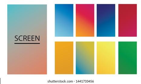 Vector EPS 10 Gradient Set. Different colors. Modern Smartphone screen, mobile app Template. Design for Wallpaper, background, banner, flyer, Social media post.