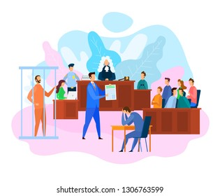 Vector EPS 10 of Hearing in Courtroom. Judge, Witnesses and Jury. Attorney While Litigation. Court Decision. Criminal in Jail. Sad Man Holds Head. Lawyer Services Concept. Criminal Law.