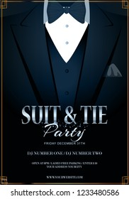 Vector EPS 10 illustration of dark blue tuxedo with black bow tie. Bachelor or vip Party Invitation Template. Realistic 3D Vector Black Suit with Bow Tie. To see similar, please VISIT MY PORTFOLIO.