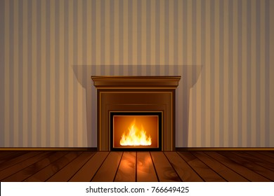 Vector eps 10 illustration of living room with fireplace. Realistic fire effect. Warm burning flame. Cozy place. Wooden floor. Design best for christmas cards banners or classic style interior designs