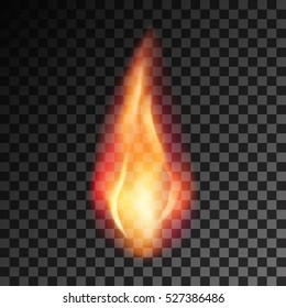 Vector eps 10 isolated transparent effect of realistic flame. Fire illustration, candle light, burning, hot, devouring element, bonfire, twinkle, combustion. torch, match