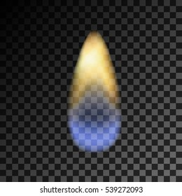 Vector eps 10 isolated transparent effect of realistic gas lighter flame. Fire illustration, candle light, burning, hot, devouring element, bonfire, twinkle, combustion. torch, match
