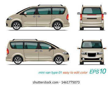 VECTOR EPS 10 - mini van design template, MPV car, isolated on white background.