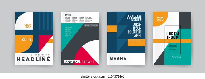 Vector EPS 10. Mock up and business design of 4 main pages. Magazine or book design. Branding identity design.