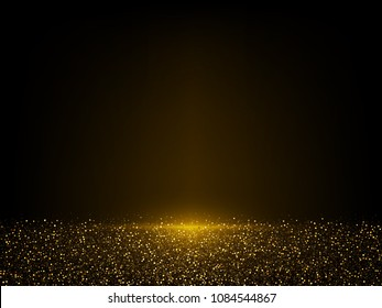 Vector eps 10 shiny golden glitter dust. Sparkling glittery background decoration