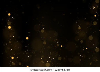 Vector eps 10 sparkling gold particles. Golden bokeh lights abstract background