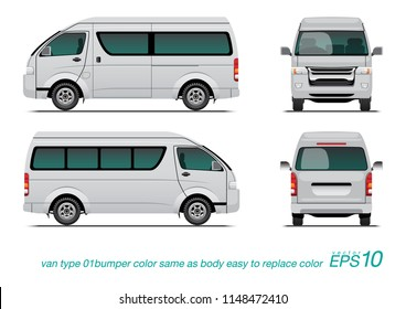 "VECTOR EPS 10 - template van side view, rear and back, isolated on white background. easy to edit color in layer name ""body color""."
