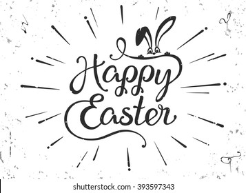 "VECTOR eps 10. Vintage greeting card for Easter. Happy Easter hand drawn lettering text on grunge background. Illustration painted in retro style. lettering text ""Happy Easter"" fynny vector bunny"