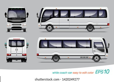 "VECTOR EPS 10 - white coach van side view, rear and back, template design for right steering wheel car. isolated on grey background, easy to edit color in layer name ""body color""."