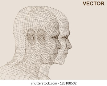 Vector eps concept conceptual 3D wireframe human male head isolated on beige background as metaphor for technology,cyborg,digital,virtual,avatar,science,fiction,future,mesh,vintage or abstract design