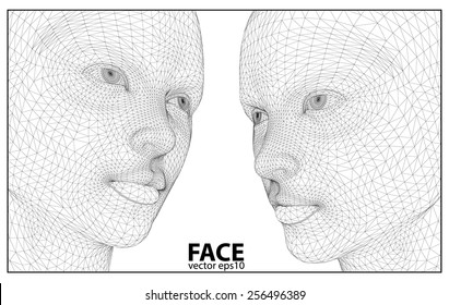 Vector eps concept or conceptual 3D wireframe human female head isolated on beige background