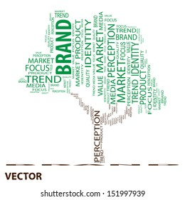 Vector eps concept or conceptual tree word cloud on white background as metaphor for business,trend,media,focus,market,value,product,advertising or customer.Also for corporate wordcloud