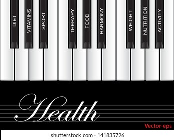 Vector eps concept or conceptual white text word cloud tagcloud as piano keys isolated on white background as metaphor for health, nutrition, diet, wellness, body, energy, medical, sport,heart science