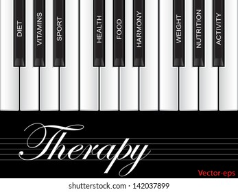 Vector eps concept or conceptual white text word cloud tagcloud as piano keys isolated on white background as metaphor for health,nutrition,diet,wellness,body,energy,medical,sport,heart science