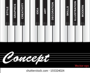Vector eps concept conceptual white text word cloud tagcloud as piano keys isolated on white background, metaphor to art, style, graphics, creativity, idea, modern, ornament, creative,vision artwork