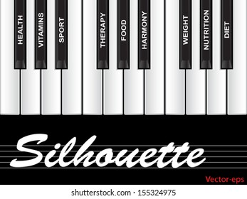Vector eps concept conceptual white text word cloud tagcloud as piano keys isolated on white background as metaphor for health, nutrition, diet, wellness, body, energy, medical, sport, heart science