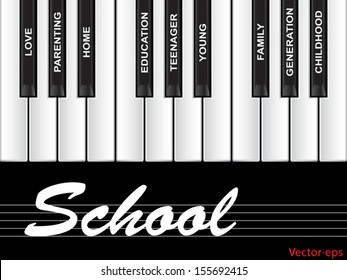 Vector eps concept or conceptual white text word cloud or tagcloud as piano keys isolated on black background as a metaphor for child,family,education,life,home,love and school learn achievement