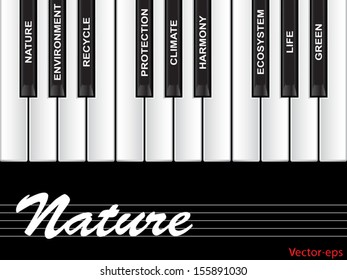 Vector eps concept or conceptual white text piano keys word cloud or tagcloud isolated on black background as metaphor to nature, ecology, green, energy, natural, life, world, global protect recycling