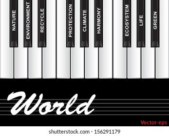 Vector eps concept or conceptual white text piano keys word cloud or tagcloud isolated on black background as metaphor to nature,ecology,green,energy,natural,life,world,global,protect recycling