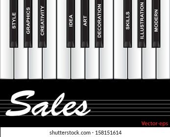 Vector eps concept conceptual white text word cloud tagcloud as piano keys isolated on white background, metaphor to art, style, graphics, creativity, idea, modern, ornament, creative, vision artwork