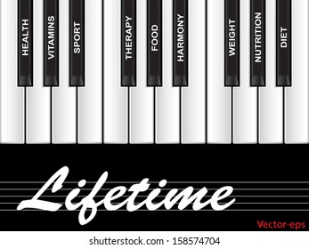 Vector eps concept or conceptual white text word cloud tagcloud as piano keys isolated on white background  metaphor for health, nutrition, diet, wellness, body, energy, medical, sport, heart science