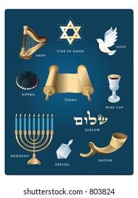 (Vector EPS file!!!) Jewish-themed clip art featuring: the Star of David, Dove, Torah, Kippah, Harp, Wine, Menorah, Dreidel, Shofar and Shalom.