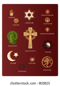 (Vector EPS file!!!) Symbols of various world religions including: Christianity, Judaism, Islam, Buddhism, Hinduism, Taoism, Jainism, Satanism, Atheism, Confucianism, Shintoism, and more...