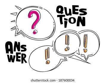 Vektorgrafik von Fragen und Antworten auf witzige Stilblasen auf Weiß