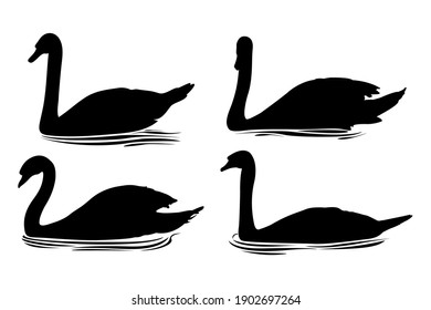 Vector eps. İsolated swan silhouettes.