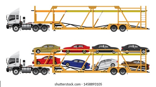 VECTOR EPS10 - car carrier, car transport trailer truck with 8 x car load, automobile delivery truck from factory to showroom, isolated on white background.