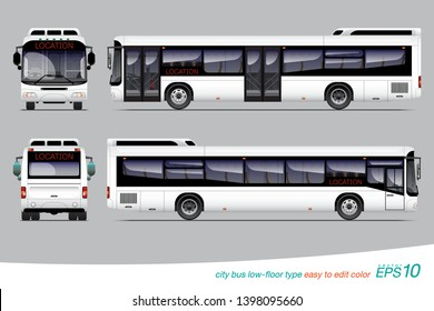 """VECTOR EPS10 - city bus template for car branding and advertising isolated on grey background, can edit color on layer name """"body color""""."""