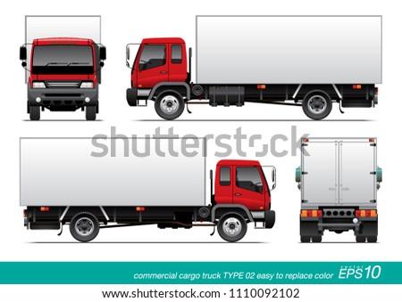 vector eps 10 commercial cargo truck template stock vector royalty