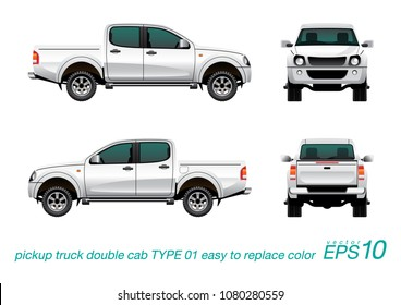 """VECTOR EPS10 - double cab pickup truck template, isolated car on white background,easy to edit color on layer """"body color"""", all elements in the groups on separate layers."""