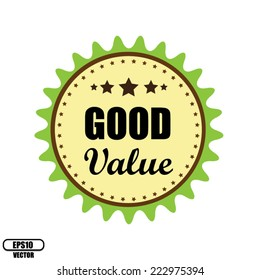 Vector EPS.10: Green Vintage Good Value With Stars Badge Stickers and Label.