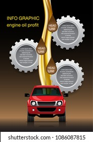 VECTOR EPS10 - info graphic front view pickup truck with flow of oil and gears on blend black background. engine oil profit.