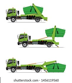 VECTOR EPS10 - lugger truck, swing arm garbage truck, waste disposal truck, skip loader, action when pick up a container, isolated on white background.