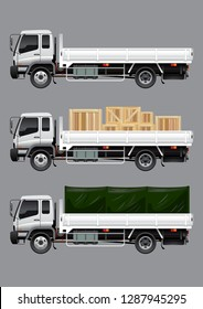 VECTOR EPS10 - open cargo truck with boxes and canvas wrap, isolated on grey background.